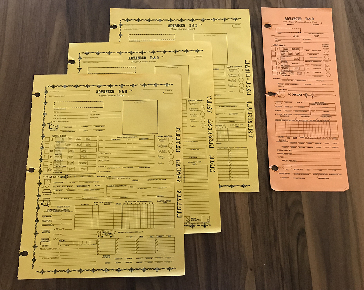 1st Edition AD&D character sheets and NPC character sheet